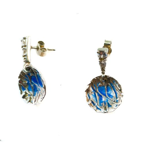 Maria Santos Round blue  silver and enamel stud  earrings