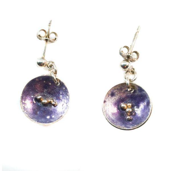 Round Purple silver and enamel stud  earrings
