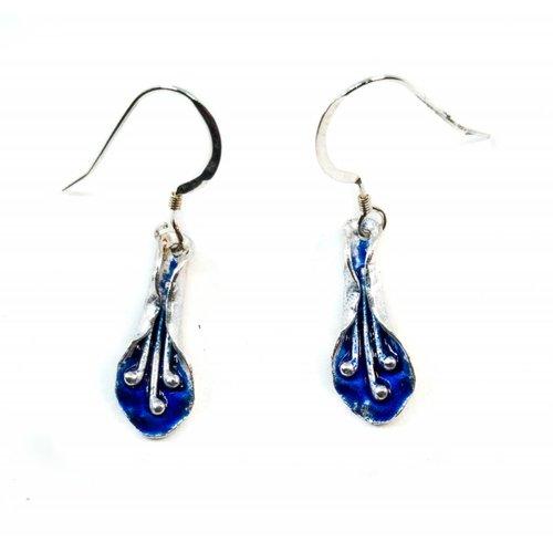Maria Santos Lily dark blue silver and enamel hook earrings