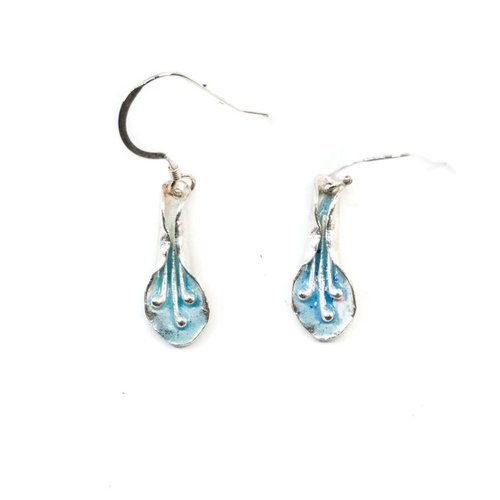 Maria Santos Lily Pale Blue silver and enamel hook earrings