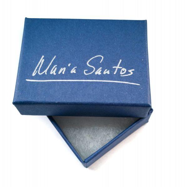 Pendientes ondulados redondos de plata azul y esmalte .5