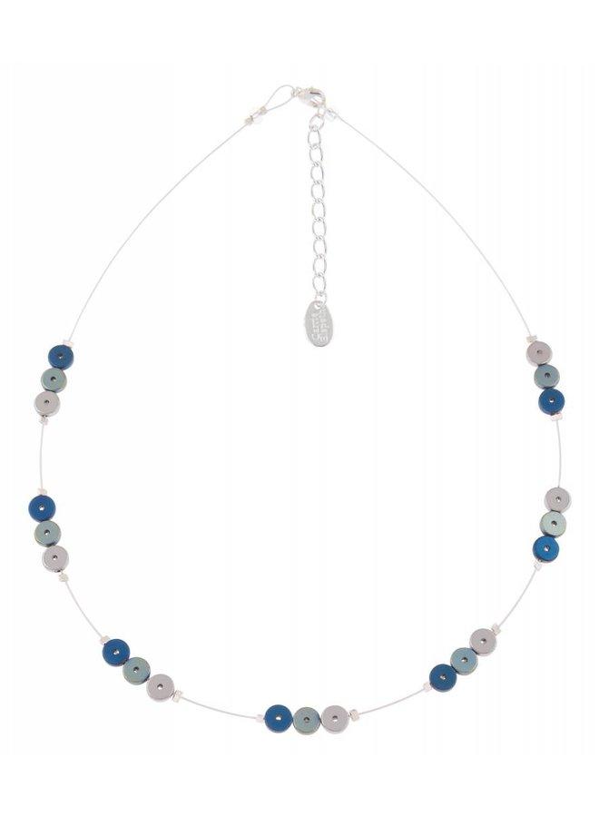 Blaue Platten beabstandeten Halskette