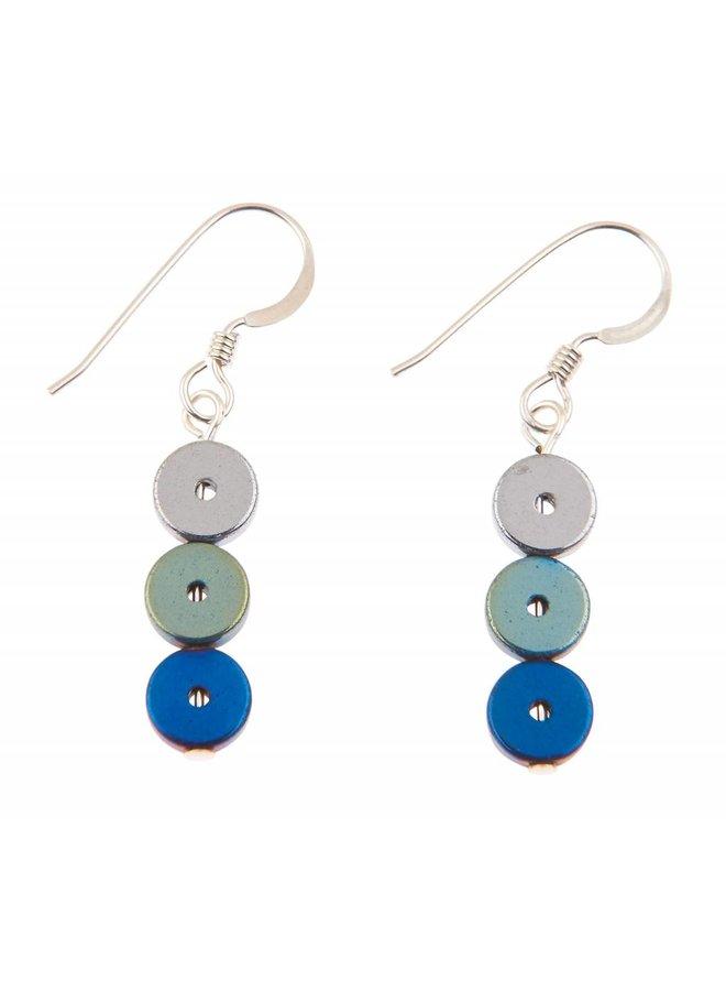 Blaue Platters Ohrringe