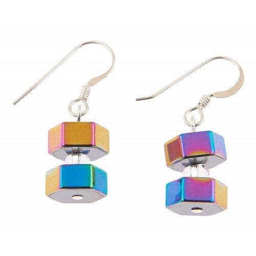 Carrie Elspeth Pendientes hexagonales Spectrum