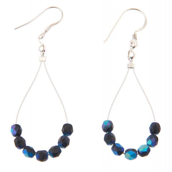 Blue Black Twists Earrings