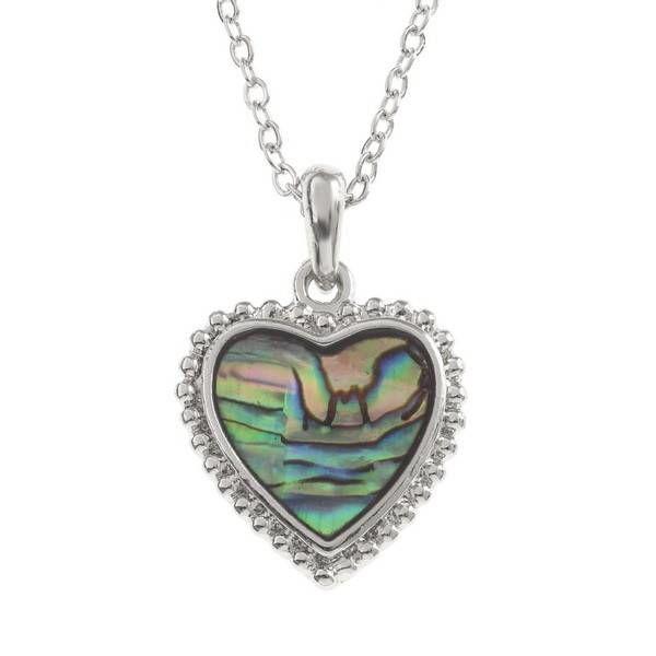 Corazón con incrustaciones de collar de concha Paua