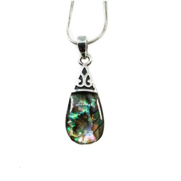 Pear Drop Inlaid Paua shell  necklace