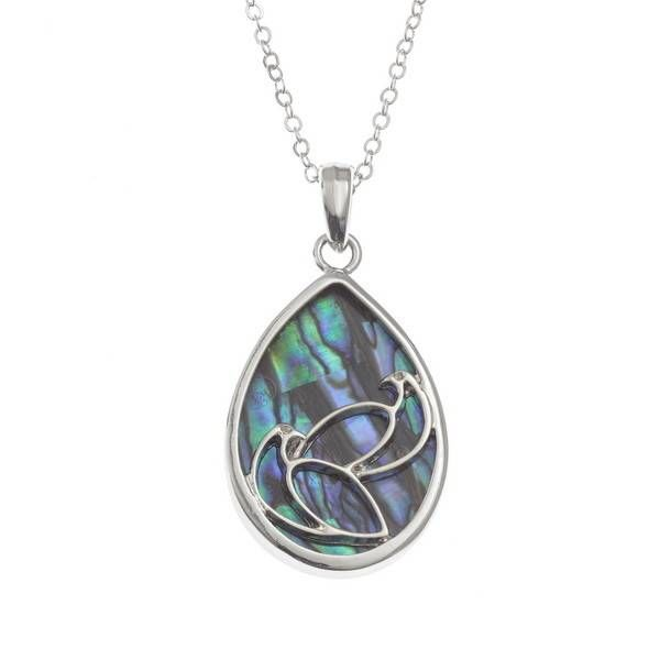 Two Doves Inlaid Paua shell  necklace