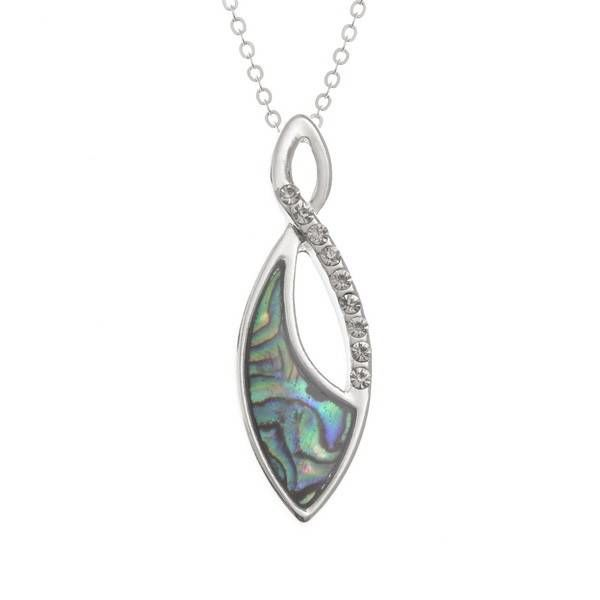 Teardrop Inlaid Paua shell and Diamante necklace 66
