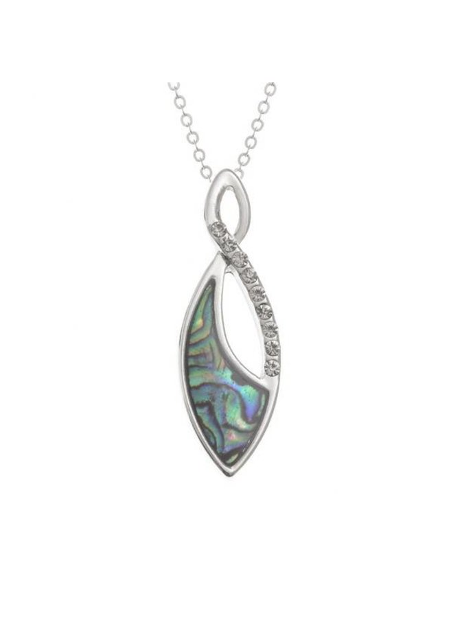 Tropfenbesetzte Paua Muschel und Diamante Halskette 66