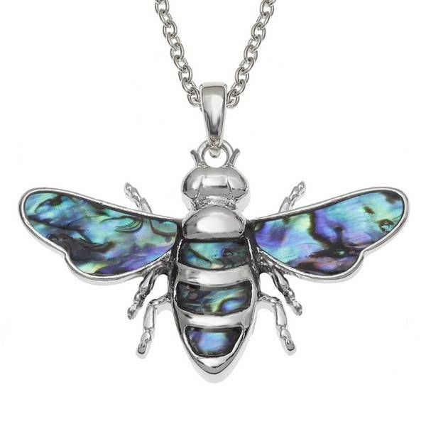 Bee Inlaid Paua shell necklace