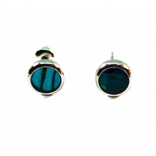 Tide Jewellery Pendientes redondos con incrustaciones de concha Paua