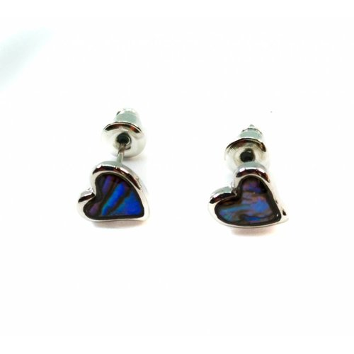 Tide Jewellery Heart  Tiny Stud Inlaid Paua shell  Earrings