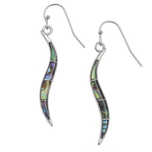 Tide Jewellery Pendientes de concha Paua con incrustaciones de gota larga curvada