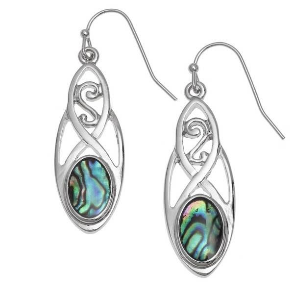 Celtic  Drop  Inlaid Paua shell  Earrings