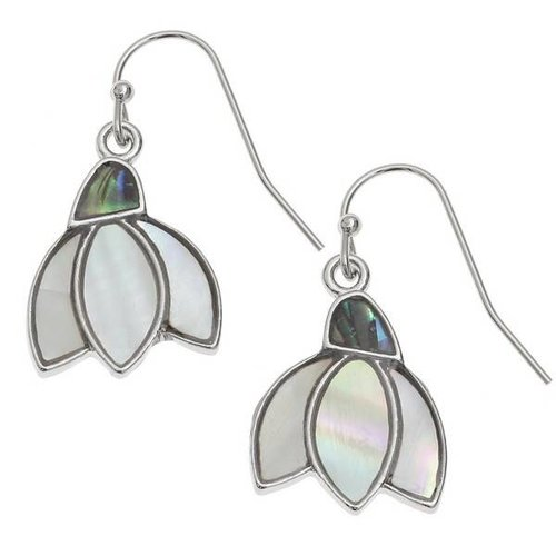 Tide Jewellery Snowdrop  Drop  Inlaid Paua shell  and mop Earrings