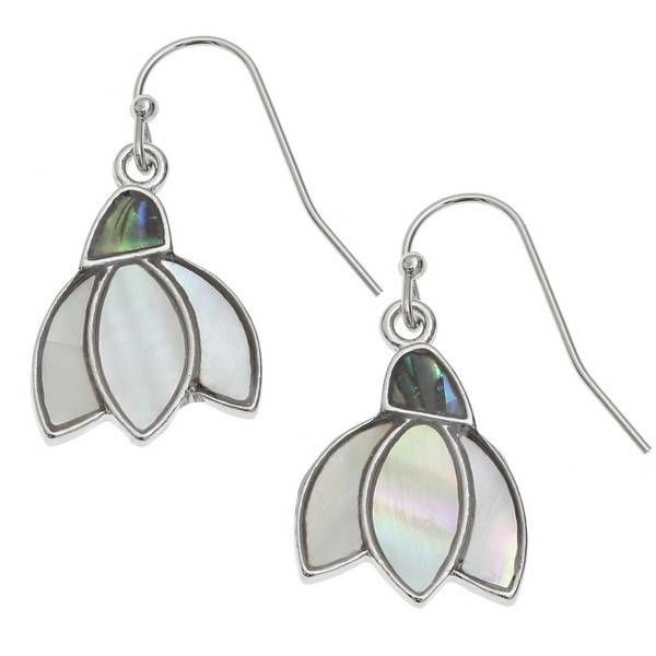 Snowdrop  Drop  Inlaid Paua shell  and mop Earrings