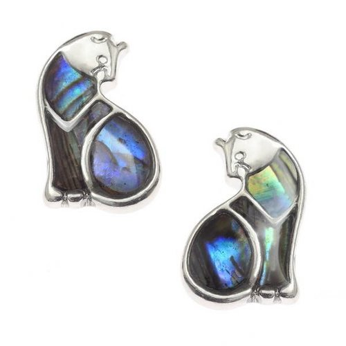 Tide Jewellery Cat  Inlaid Paua shell  Stud Earrings