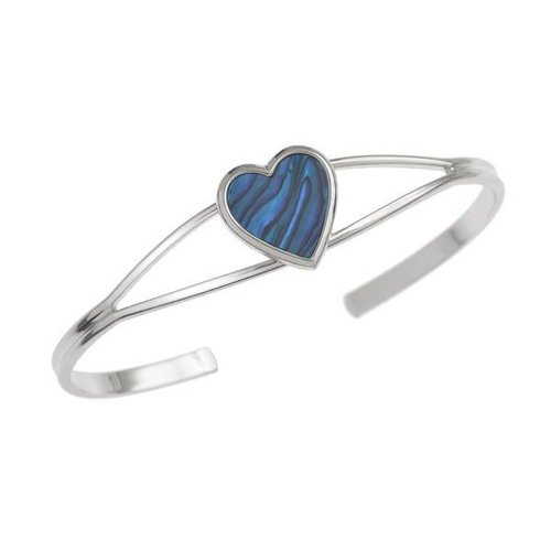 Tide Jewellery Heart Inlaid Blue Paua shell  Bangle