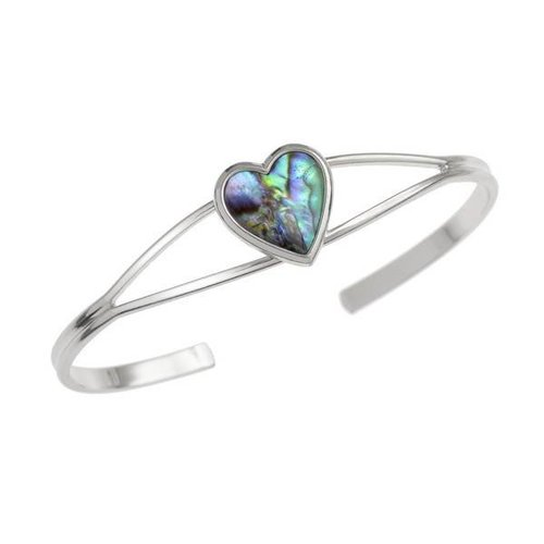 Tide Jewellery Heart Inlaid Green Paua shell  Bangle