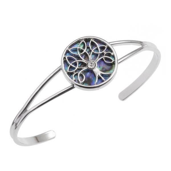 Celtic Tree of Life con incrustaciones Paua shell Bangle