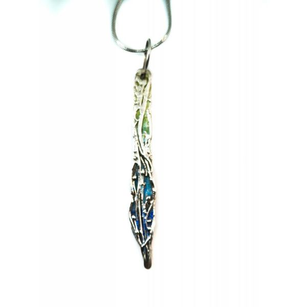 Waterfall long silver and enamel necklace