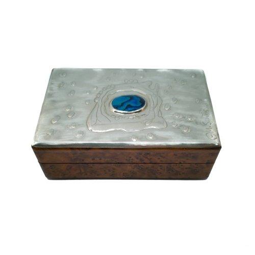 Maria Santos Water Splash Pewter y caja de madera con bisagras