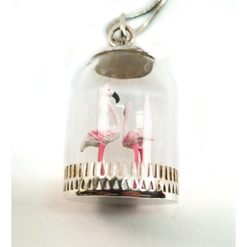Katie Johnson Dome diorama Flamingos Pendant