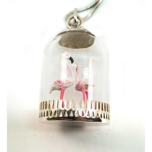 Katie Johnson Dome diorama Flamingos Silver Pendant