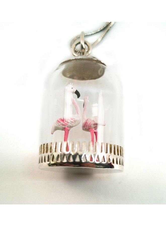 Dome diorama Flamingos Pendant