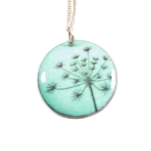 Katie Johnson Seed head enamel copper green necklace