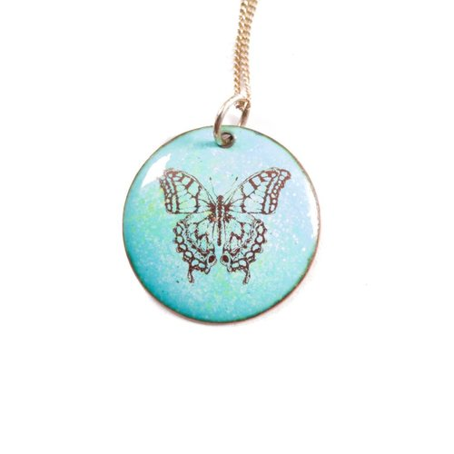 Katie Johnson Circle butterfly enamel copper blue Necklace