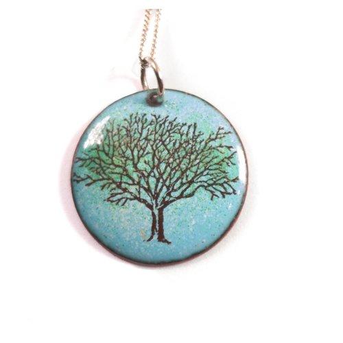 Katie Johnson Circle tree  enamel copper blue necklace