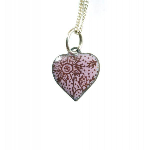 Heart flower enamel copper purple  necklace