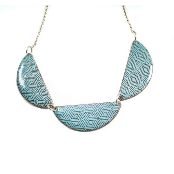 3 scallops geometric enamel copper necklace