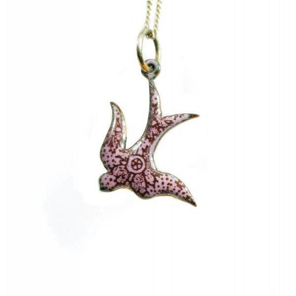 Swallow enamel copper purple necklace