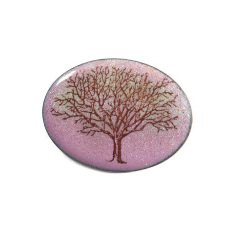 Katie Johnson Oval tree enamel copper purple brooch