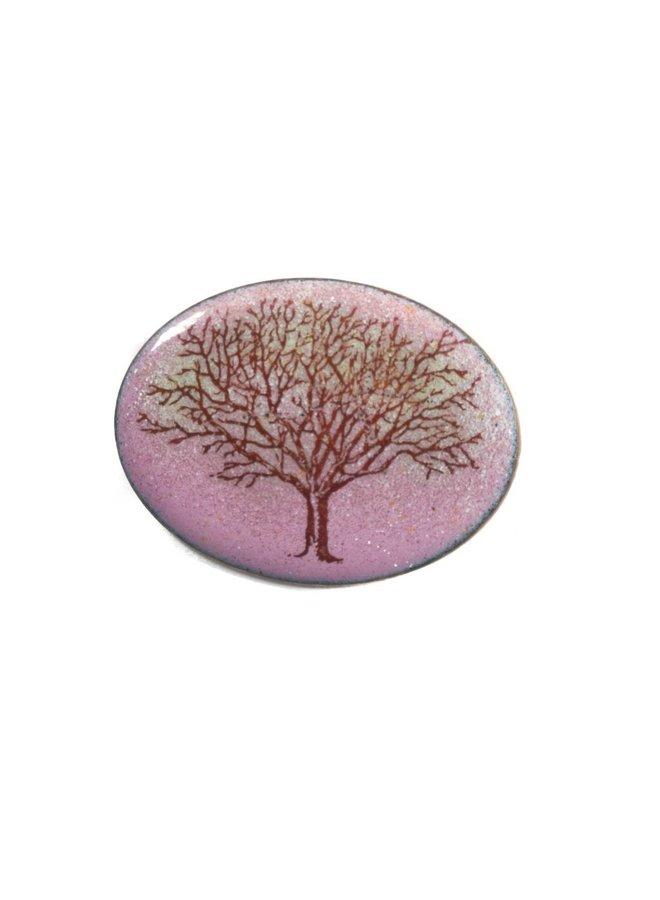 Oval tree enamel copper purple brooch