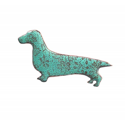 Katie Johnson Long Dog enamel copper brooch