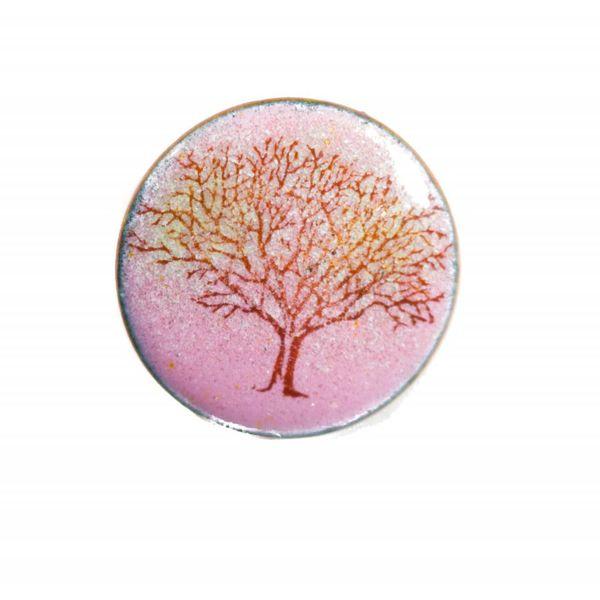 Round Tree enamel copper purple brooch