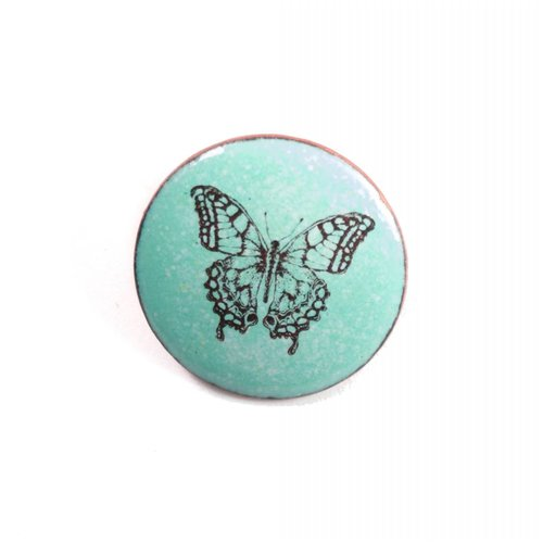 Katie Johnson Round butterfly enamel copper green brooch