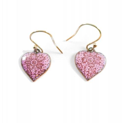 Katie Johnson Heart enamel copper pink earrings