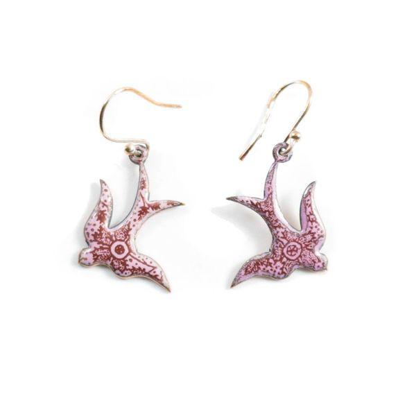Purple swallow enamel copper earrings