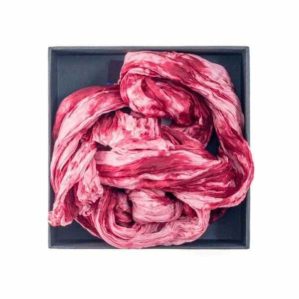 Bordeaux Crinkle Silk Scarf 180x55cm