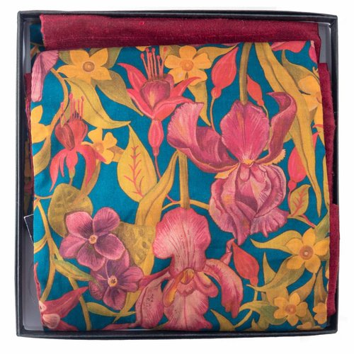 Lady Crow Silks Autumn Flowers Liberty Cotton  and Silk Scarf Boxed