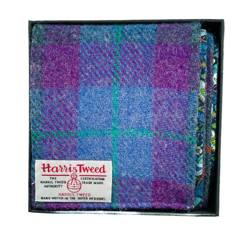Lady Crow Silks Harris tweed and liberty Blue and purple scarf Boxed