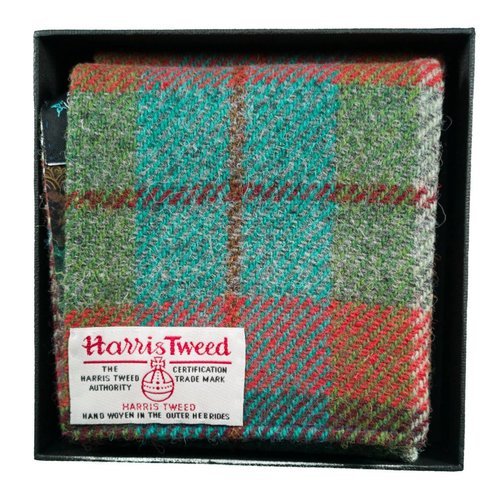 Lady Crow Silks Harris tweed and liberty Rust and jade scarf Boxed