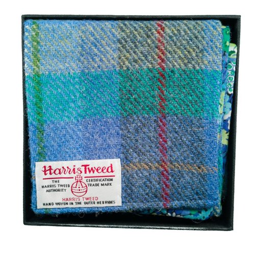 Lady Crow Silks Harris tweed and liberty Turquoise scarf Boxed