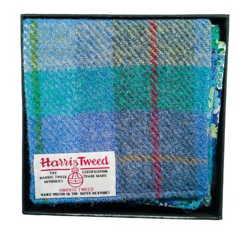 Lady Crow Silks Pañuelo de tweed y libertad Harris turquesa en caja