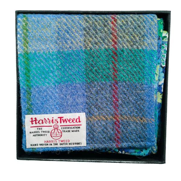 Pañuelo de tweed y libertad Harris turquesa en caja
